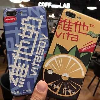 手機殼IPhone6/7/8/plus(沒有X) : 創意維他奶檸檬茶軟殼