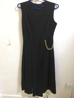 Victoria Beckham sleeveless dress with gold chain detail