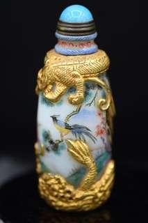 清代琉璃西洋彩鼻煙壺,厚金