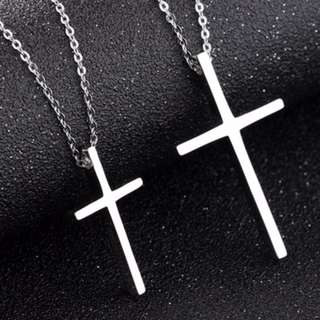 Couple Necklace, white cross stainless steel couple necklace for lover