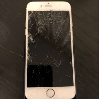 Iphone6 White 64gb with battery case (broken screen)