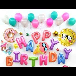 🦄 [Instock] Happy Birthday Party Decor Balloon Sets - Rainbow Sunny Sundae / Ice Cream / Doughnuts