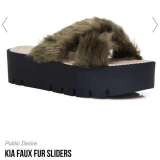 Public Desire Kia Cross Over Sole Faux Fur Sliders