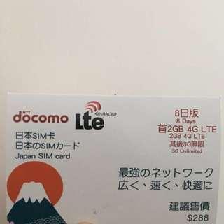日本 docomo 4G 上網卡 SIM card