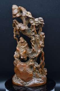 黃楊木雕刻達摩悟到