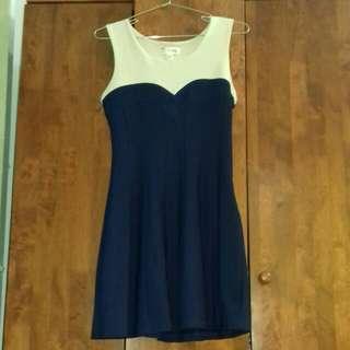 F block Beige/Navy Blue Dress #Bajet20