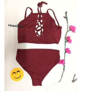 on hand Bikini/ maroon 2pieace swimsuit
