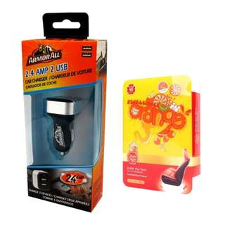 Armor All ACC8-1003 2.4AMP Dual Port Car Charger with Chupa Chups CHP903 Under Seat Air Freshener Orange 200g