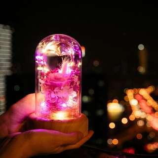 許願流光瓶 藍牙音響 氛圍燈 永生花燈 聖誕情人節禮物 創意LED小夜燈
