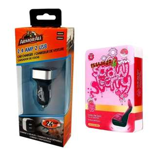 Armor All ACC8-1003 2.4AMP Dual Port Car Charger with Chupa Chups CHP902 Under Seat Air Freshener Strawberry 200g