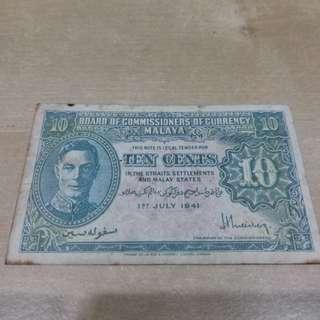 10 cents Malaya Bank Note