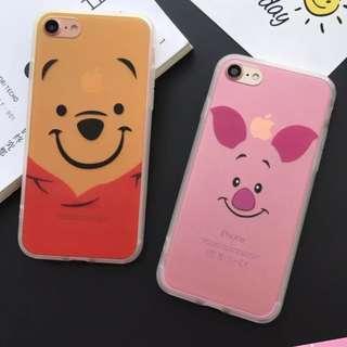 手機殼IPhone6/7/8/plus(沒有X) : 卡通維尼熊小豬蠶絲紋軟殼