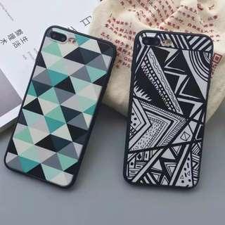 手機殼IPhone6/7/8/plus(沒有X) : 簡約條紋三角格子蠶絲紋軟殼