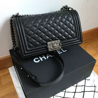 SOLD* Chanel Caviar Quilted Medium Boy Flap Bag