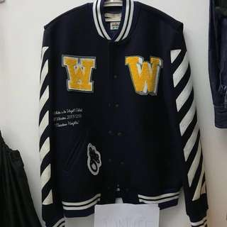Off White wool baseball jacket, 100% real