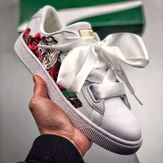 Puma Basket Heart Velvet Embroidered Shoes Footwear