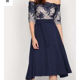 Design Closet - Fann: LYTHRONEL MESH SLEEVE FLARE DRESS IN NAVY BLUE