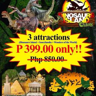 Dinosaurs Island + Insectlandia + 7Wonders of the World Museum  Tickets