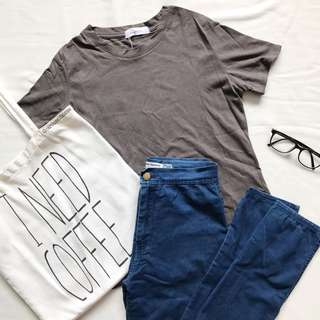 Ulzzang Korean Grey T Shirt
