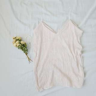 Pearl white pleated cami top