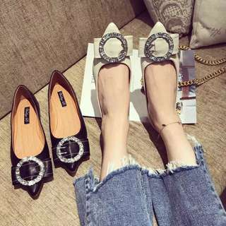 2018 spring new metal round buckle diamond bow flat shoes pointed shallow mouth wild black women's shoes