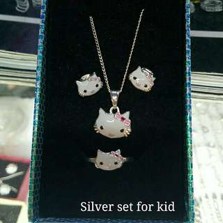 Authentic 925 Italy silver hello kitty set for kid