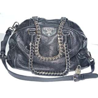 AUTHENTIC PRADA CERVO LUX SHIMMERING CHAIN BAG WITH LOCK