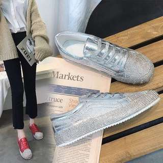2018 Spring Casual Shoes Rhinestone Flat White Shoes