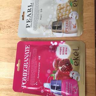 masks 4pcs bundle-cucumber, pearl, pomegrenate & milk
