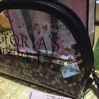 Victoria's Secret pouch transparent w/ black zipper
