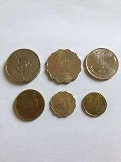 1998年 香港硬幣 5元 2元 1元 5毫 2毫 1毫 洋紫荊