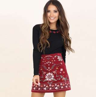 Black Ribbed Long Sleeve Rose Embroidery Crop Top