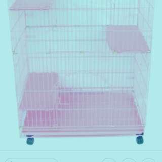 三層粉體烤漆粉色貓籠(可拆組)