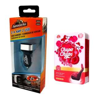 Armor All ACC8-1003 2.4AMP Dual Port Car Charger with Chupa Chups CHP902 Under Seat Air Freshener Cherry 200g