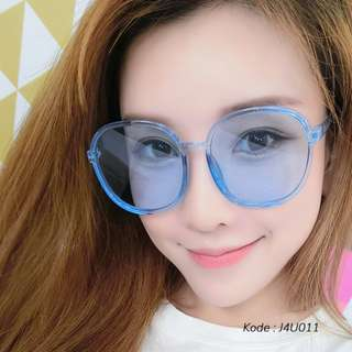 Kacamata Fashion UV Round Frame Transparent Colorful Sunglasses Transparent J4U011