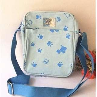 全新 可愛 淺藍色 狗狗背包 斜背包 手提包 側背包 出清 便宜出售 199元