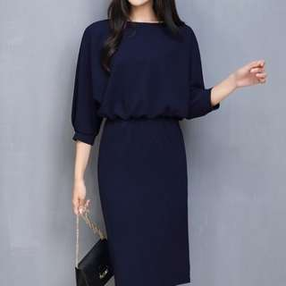 Navy blue office dress