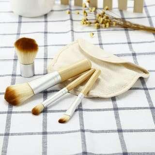 $10.90 Free Mail 4pcs Bamboo Makeup Brush Kit