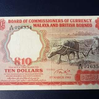 Malaya 1961$10BIG A prefix A/83 goodEF.GRADE