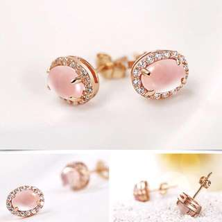 High Quality S925 Rose Gold Plated Quartz Sparkling Ear Studs - New