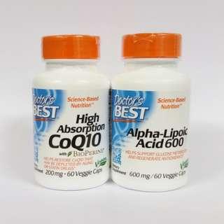 [BUNDLE] Doctors Best, CoQ10 200mg + Alpha Lipoic Acid 600mg 60 Vcaps (Free Delivery)