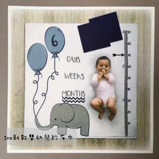 歐美INS款寶寶嬰兒新生兒纱布巾蓋毯拍照攝影紀念紀錄背景卡空調推車毯浴巾包裹布