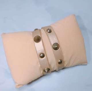Leather Studded Wrap-around Bracelet (Beige)