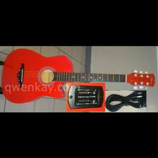 RCStromm Semi Acoustic Guitar 38Inch 38CE Light Red