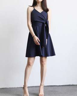 Kiara Stripes Ribbon Dress (Navy Blue)