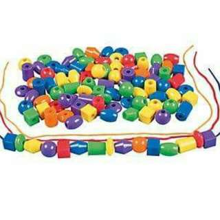 Giant plastic beads for lacing