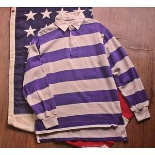Vintage 90'S 早期台灣製復古粗條紋撞色馬球polo衫