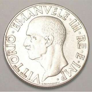 1940 Italy 1 lire coin
