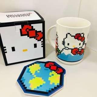 Hello Kitty 陶瓷杯連杯墊百老匯限量版全新日本圖案
