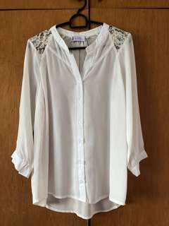 The Velvet Dolls White Blouse/Top with Lace